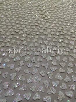 ap18 cream white heart shining glitter glued  net mesh breathable lace fabric for wedding dress/party/lady dress/desinger