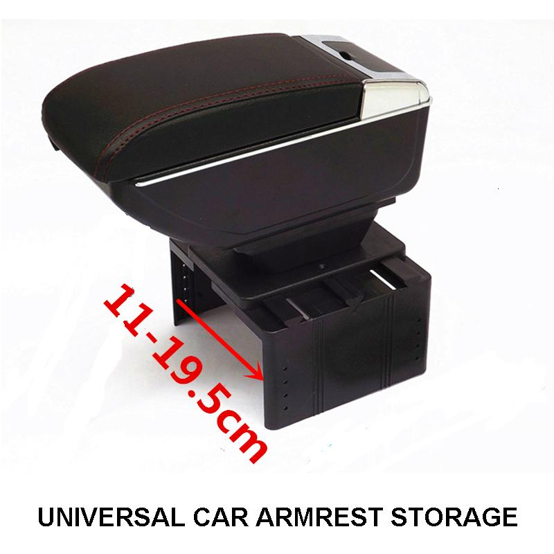 FREE SHIP BIGGER SPACE LUXURY Car armrest box central Storage content box with cup holder LED