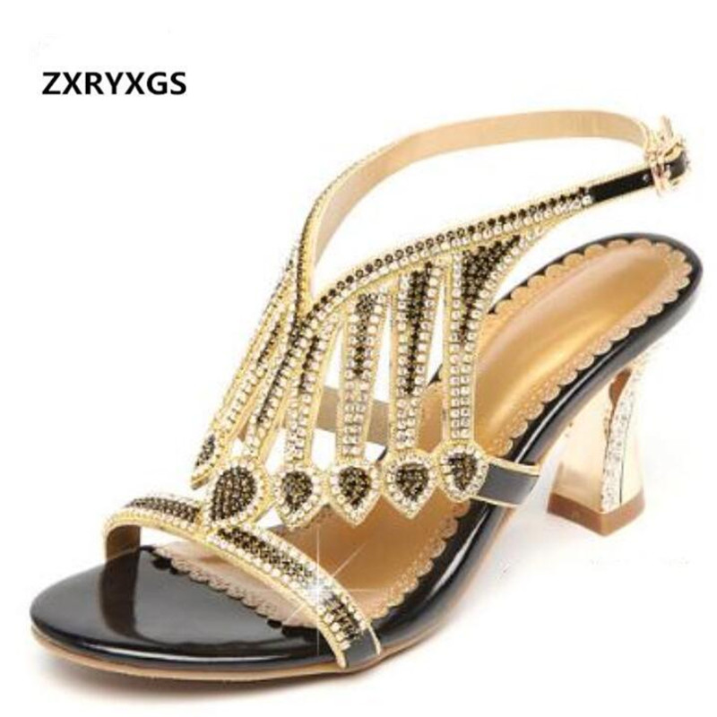 2019 Summer Sexy Rhinestone Sandals Women High Heel Shoes -3538