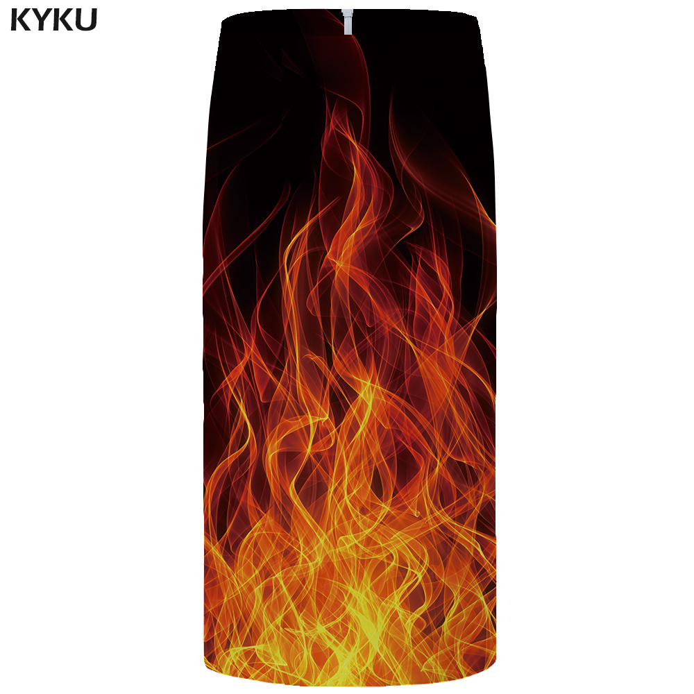 Kyku Brand Fire Skirts Women Black Party Skirt  High Waist Gothic Large Size Hip Anime Ol Ladies Skirts 2019 New Knee Length