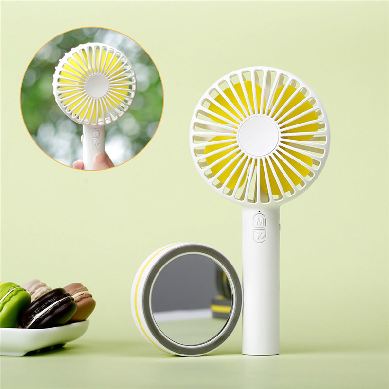 SOONHUA Protable Handheld Fan 3-Speed Battery Operated USB Power Fan Handy Mini Cute Desk Fan Quiet Desktop Hand Cooling Fan