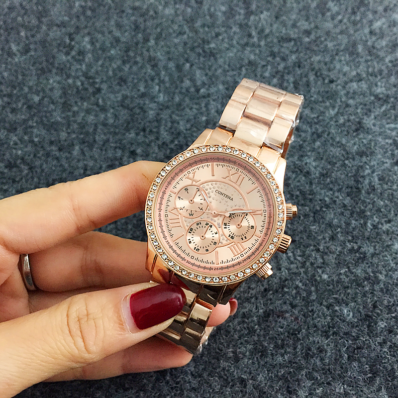CONTENA Luxury Diamond Watch Rose Gold Women Watches Stainless Steel Fashion Womens Watches Clock bayan kol saati reloj mujerCONTENA Luxury Diamond Watch Rose Gold Women Watches Stainless Steel Fashion Womens Watches Clock bayan kol saati reloj mujer