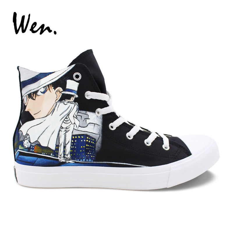 Wen Unisex Canvas Sneakers Design Anime Detective Conan Kid the Phantom Thief High Top Hand Painted Shoes Girl Boy's Plimsolls