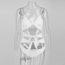 Women Bodysuit Short Bow Metal Straps Top Backless Hollow Out