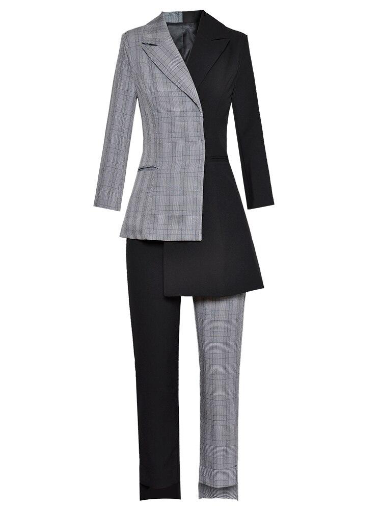 Jupe Costume Femmes Tournent Vers Black Cheville Le De Pantalon Longues Catwalk Patchwork amp; H5322 Empire 2018 Manches Haut Bas Blazer Gamme longueur AgqnqXC
