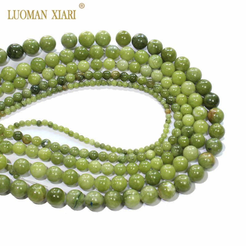 Cina Baru Lisa 'S Chalcedony Hijau Alami Batu Beads untuk Perhiasan Membuat DIY Gelang Kalung 4/6/8/ 10/12 Mm Strand 15''