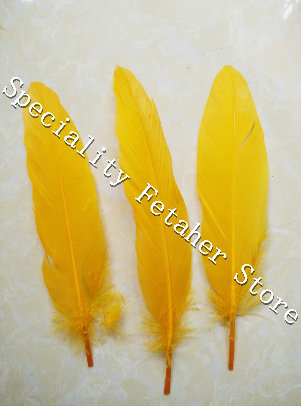 New!200pcs 15-20cm 6-8inch Gold Yellow Goose Feather for Wedding Halloween Carnival Clothing Ornaments