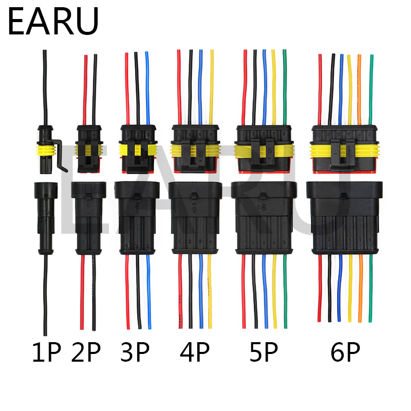 1set AMP 1P 2P 3P 4P 5P 6P Way Waterproof Electrical Auto Connector Male Female Plug With Wire Cable Harness For Car Motorcycle
