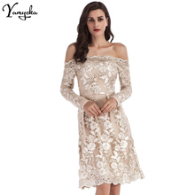 Sexy Off Shoulder Backless summer Dress women Gold Embroidery vintage dress elegant long sleeve Party Dresses vestidos mujer N цена 2017