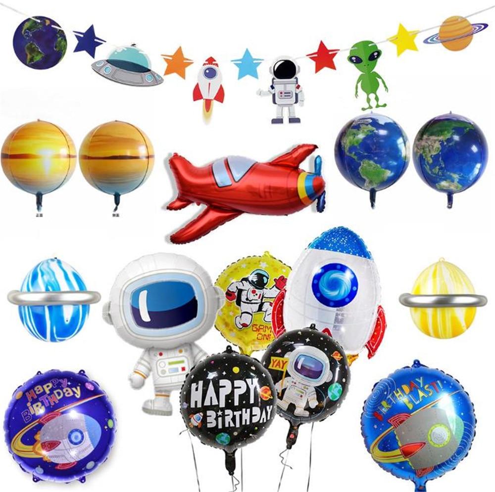 Cartoon Hat Rocket Astronaut Foil Balloons Baby Boy Super Hero Favor Toys HAPPY BIRTHDAY Party Hat