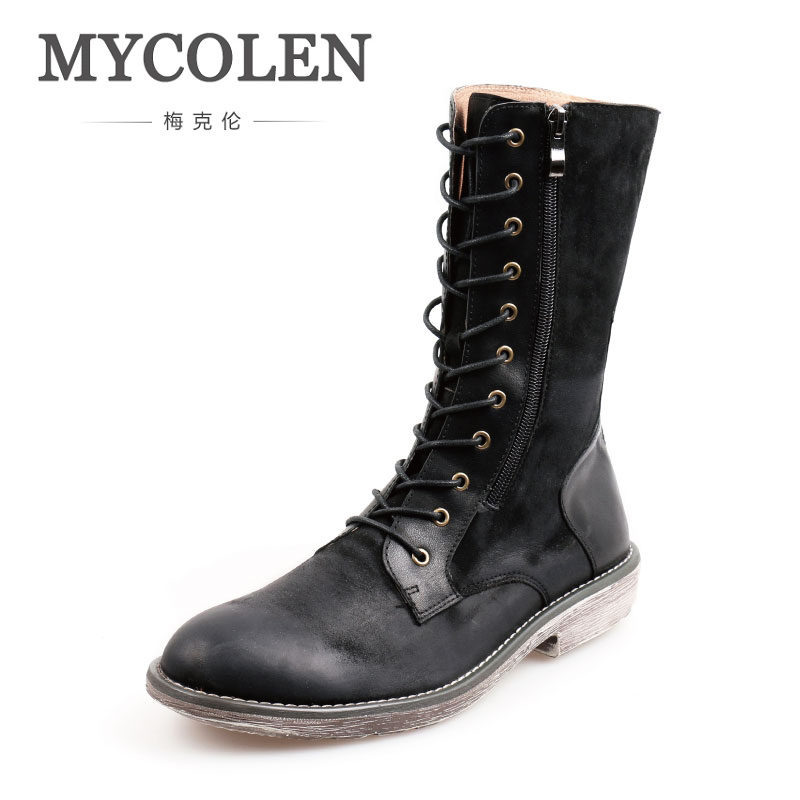 MYCOLEN Work Boots Men Winter Leather Flat Heel Long Boots British Style Round Toe Warm Comfortable Fashion Long Boots