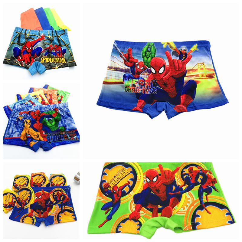 New Arrive 1pcs Boys Boxer Children Underwear Hero Spiderman Boys Underwear Cartoon Boy Boxers Fit 3-8 Year