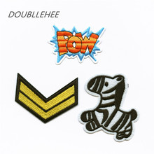 DOUBLEHEE Embroidered Iron On Patches POW Double V Zebra Design Embroidery Shoulder Badges DIY Garments For DIY Fashion Cloth 1kg natural organic moringa leaf pow der green pow der 80 mesh free shipping