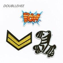 DOUBLEHEE Embroidered Iron On Patches POW Double V Zebra Design Embroidery Shoulder Badges DIY Garments For DIY Fashion Cloth перчатки сноубордические женские pow empress gtx glove zebra