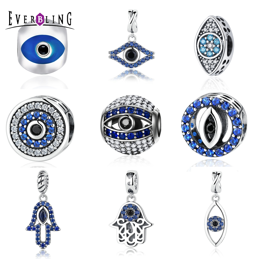 Evil Eyes 100% 925 Sterling Silver Charm Beads Fit Original European Charms Bracelet 925 sterling silver charms brush crystal pendant european charm beads fit bracelet bangle original jewelry making