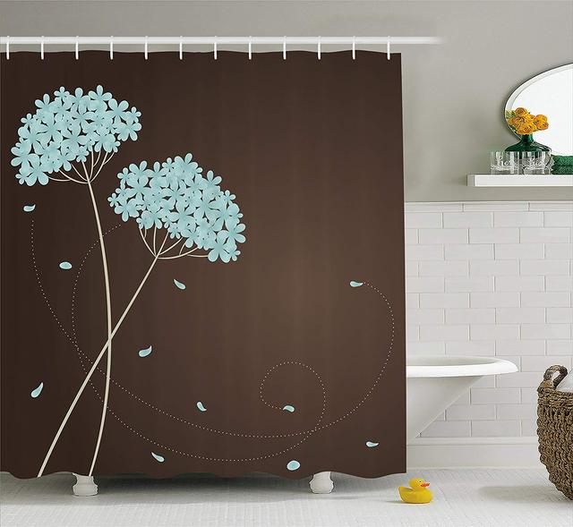 Brown And Blue Shower Curtain Floral Design With Swirl Lines Falling Leaves Autumn Inspired Fabric Bathroom Decor