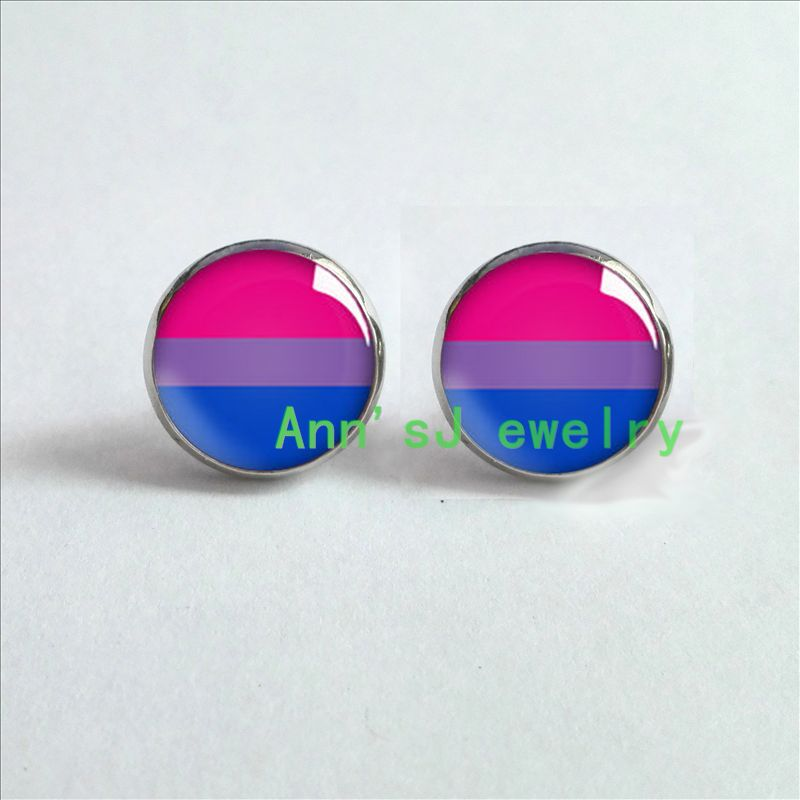 Hz4 00381 Bi Pride Stud Earrings Ear Pierced Hypoallergenic For Sensitive Ears In From Jewelry Accessories On