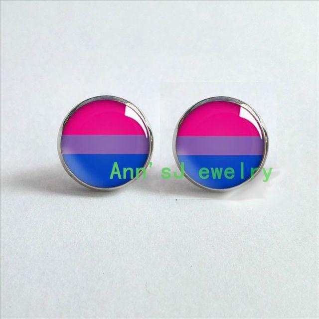 Hz4 00381 Bi Pride Stud Earrings Ear Pierced Hypoallergenic For Sensitive
