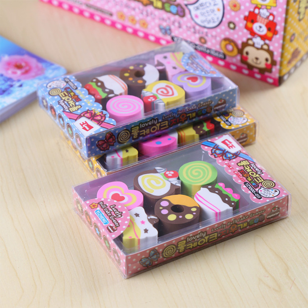1 Pack / Lot Cute Little Cartoon Kawaii Chocolate Shape Eraser For Children School Supplies Creative Gifts Free Shipping