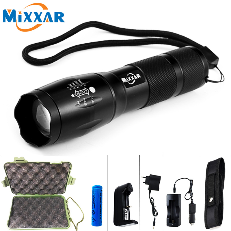 ECREE XML-T6 8000LM LED Torch Zoomable Tactical flashlight Lamp Led Flashlight torch Light for 18650 Rechargeable Battery or AAA high quality led flashlight zoom cree xml t6 l2 penlight rechargeable led lanterns lamp waterproof torch 18650 or 3x aaa battery