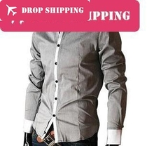Top Fashion New Broadcloth Silk Mens Blends Long Sleeve Casual , Shirts Slim Fit Stylish Dress ,size 2xl= Us ,g1242