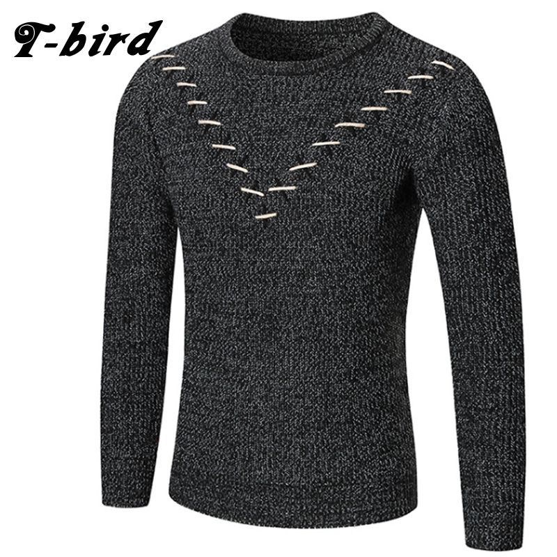 T-Bird 2018 Fashion Brand Clothing Men Suture Sweater Simple O-Neck Slim Fit Casual Pullover Men Sweaters Knitting Mens M-XXL