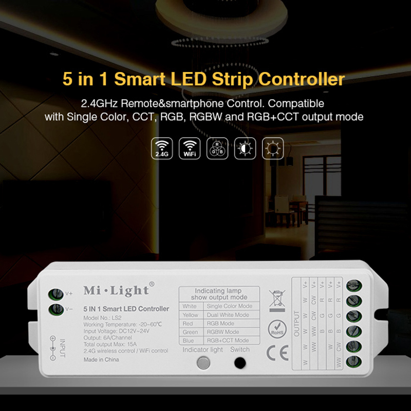 Milight LS2 <font><b>2</b></font>.4G Wireless <font><b>5</b></font> IN <font><b>1</b></font> Smart Led Controller For Single color CCT RGB RGBW RGBWW RGB+CCT Led Controller image
