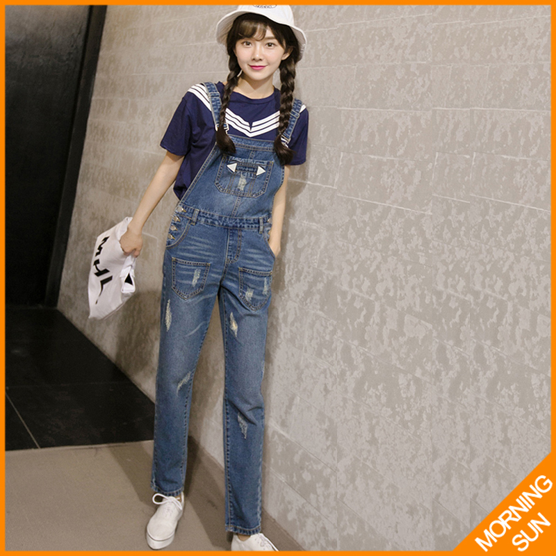 Supermodel Sign Korean Institute of wind was thin large size trousers piece Spring new denim overalls female #5018