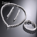 ZAKOL Trendy 3 Row Marquise Cut CZ Diamond Necklace/Earrings/Bracelet Jewelry Set Platinum Plated For Party Bijoux Women FSSP253