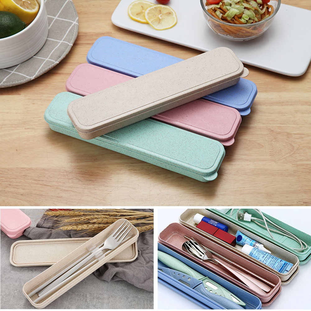 LASPERAL 1PC Multi Function Travel Camping Stainless Steel Cutlery Portable Box Case Picnic Outdoor Usage Cute Stationery Box