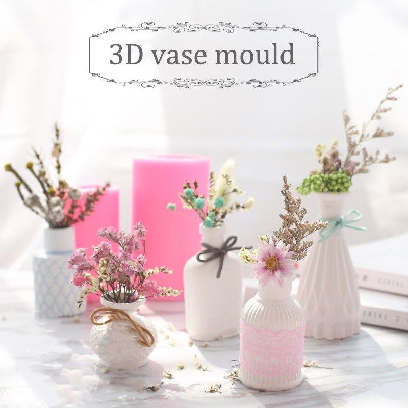 Hot Sale Mini Vase Silicone Molds Stereo Diy Gypsum Silicone Mold