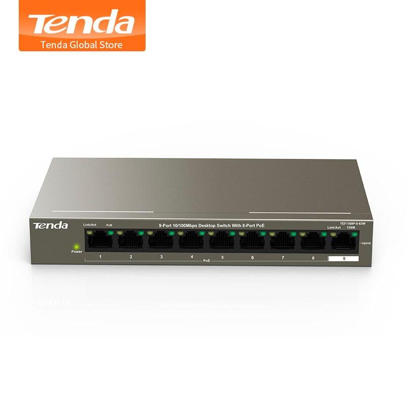 Tenda TEF1109P 8 63W 9 Port Desktop 10 100Mbps 802 3af at PoE Fast Ethernet Network