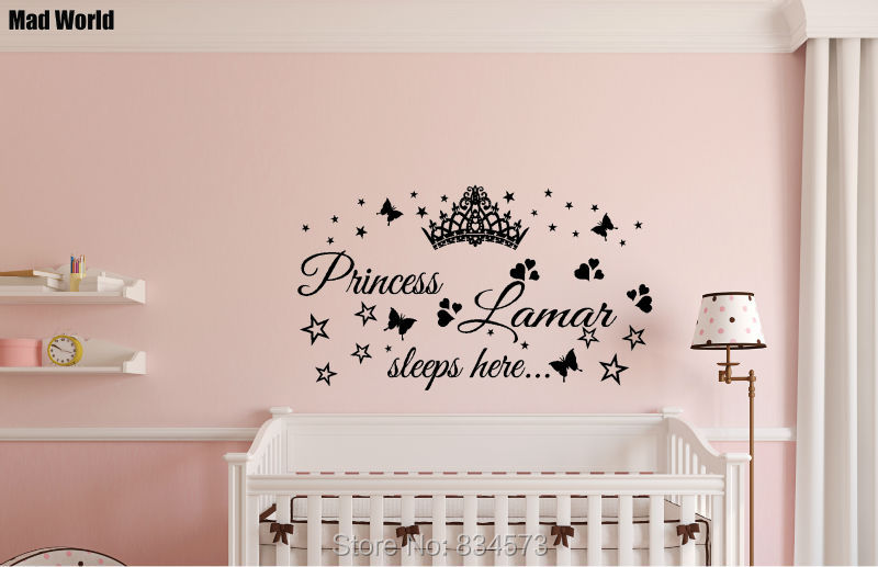 Mad World Personalised Princess Name Sleeps Here Wall Art Stickers Wall  Decal Home DIY Decoration