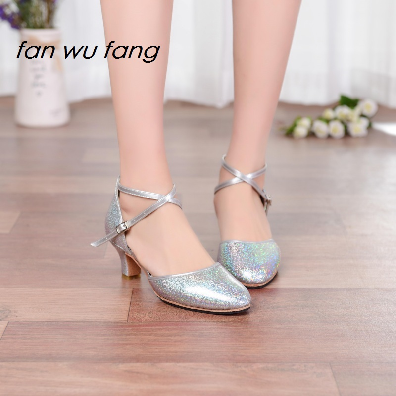 fan wu fang New Synthetic Leather Upper Rubber Sole Ballroom Dancing Latin Shoes Tango Social Dance Shoes Heel 5.5CM jgl8616