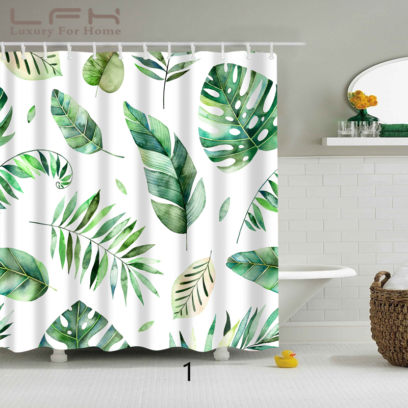 LFH 180X180 Wholesale Green Plants Pattern Shower Curtains 180cm*180cm Waterproof Bathroom Curtain Comfortable And Simple Bath