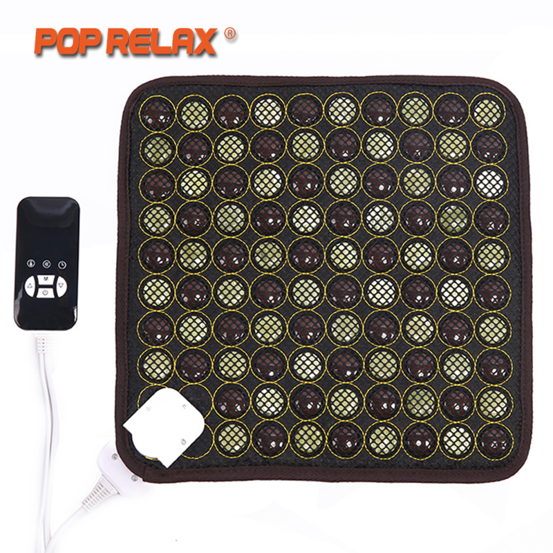 POP RELAX Korea Health Seat Mattress Jade Tourmaline Germanium Electric Heating Pad Knee Pain Relief Thermal Stone Mat Mattress pop relax electric vibrator jade massager light heating therapy natural jade stone body relax handheld massage device massager