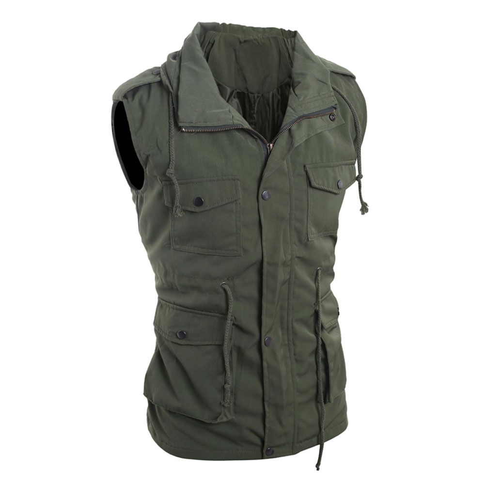 Vest Male 2017 Men's Winter Military Tooling Vests Multi Pockets Zipper Casual Vest Outdoors Leisure Loose Army Waistcoats