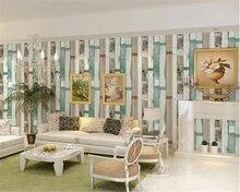 beibehang pvc Mediterranean Blue Retro Vertical Striped Wallpaper Nostalgic Network Cafe Wooden papel de parede 3d