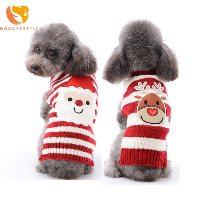Christmas Dog Sweater Stripe Dog Vest Waistcoat Pet Reindeer Clothes For Small Medium Dogs Autumn Winter Apparel DOGGYZSTYLE