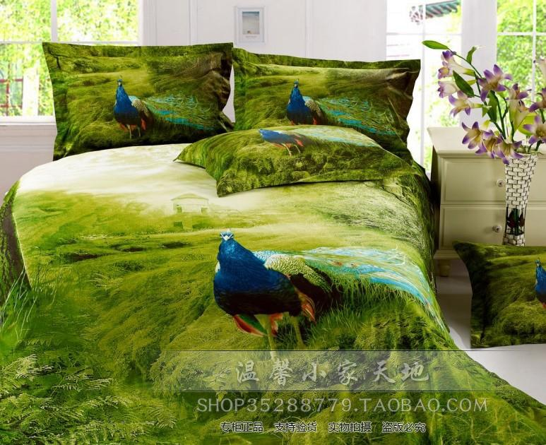 3D Green peacock bird feather print bedding set sets duvet cover bedspread sheets bed sheet oil painting cotton home