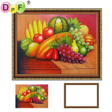 DPF Framed Diamond Painting fruit Embroidery mosaic full round Rhinestone craft pasted wall painting unique gift