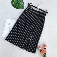 Black Striped Knit Pencil Skirt Lady 2018 New Sequined Split Winter Midi Saia Femme Jupe High Waist Stretch Wool Skirts Women stretch knit swing skirt