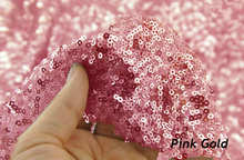 2Yard Embroidery Sequin Fabric Material Pink Gold Sparkly Used to Make Clothes Shoes Bags Wedding Partie Event Decor -527