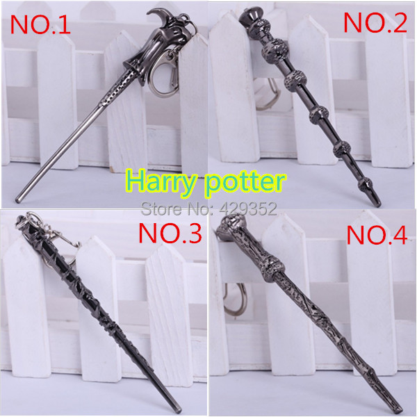 2015 New Arrival Movie HP Magic Wand Keychain 12cm Length Metal Alloy Key Ring 4 Designs