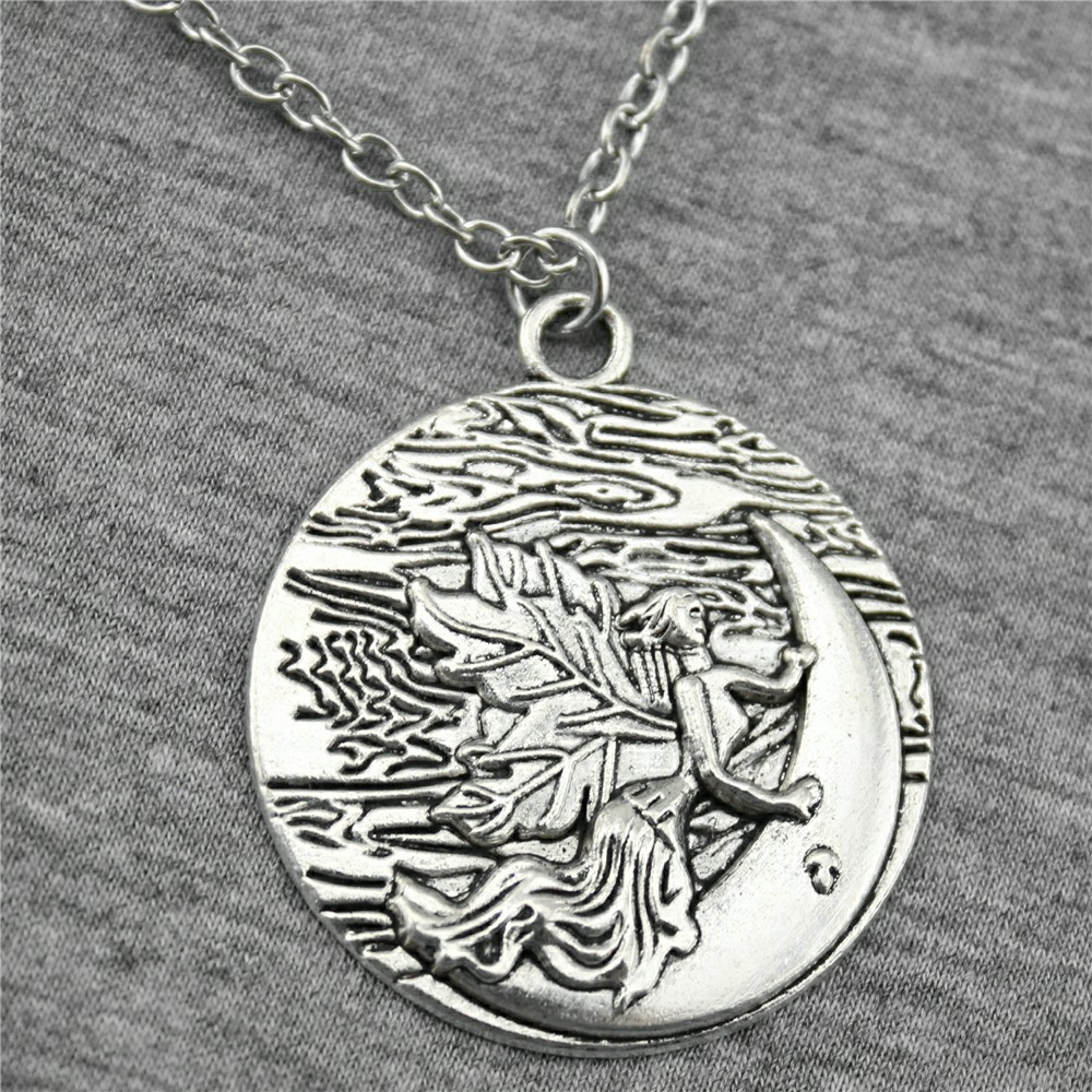 New Fashion Jewelry Simple 42x36mm Moon Angel Pendant Necklace For Women Gift Antique Silver Plated