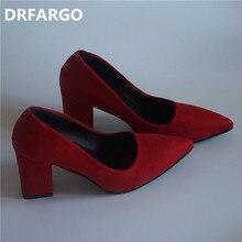 DRFARGO Women's 7.5 cm Block Heel sexy pointed toed woman pumps Summer EUR 34 -39 Free shipping