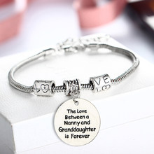 Love Between Nanny Granddaughter Bracelets Bangle Nana Grandma Grandmother Beads Jewelry Family Women Girls Party Gifts Bijoux(China)
