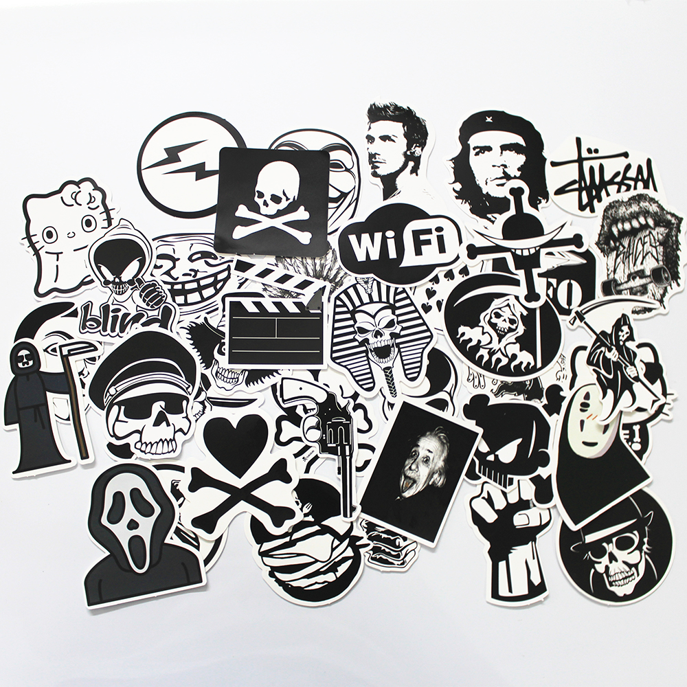 50 PCS Black and White Cool DIY Stickers For Skateboard Laptop Luggage ...