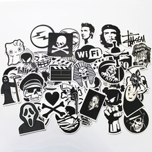 50 PCS Black and White Cool DIY Stickers For Skateboard Laptop Luggage Snowboard Fridge Phone font