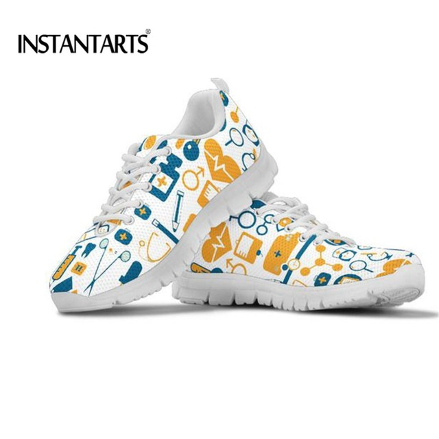 INSTANTARTS Fashion Cartoon EMT Pattern Women's Sneakers Flats Casual Shoes for Teen Girls Comfort Walking Lace Up Shoes Woman